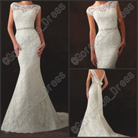Custom Made Bateau Neck Sheath Wedding Dresses With Applique...