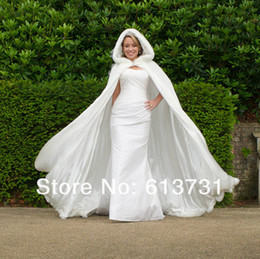 Wholesale 2013 Winter Wedding Cloak Cape Custom Made Hooded with Faux Fur Trim Long for Bride Satin Jacket WD009