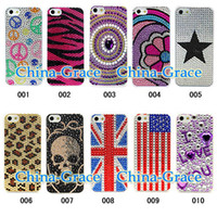 Wholesale Hot Sale Diamond Bling Case Plastic Hard Back Cover Crystal Rhinestone For iPhone S iPhone5