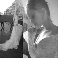 Wholesale 2012 Inbal Dror Backless Wedding Dresses Mermaid Long Sleeve Sweetheart Neckline Pearls Beaded Chapel Train Lace Wedding Gowns dhyz