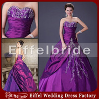Wholesale Classic Sweetheart Strapless Purple Quinceanera Dress Ball Gown Embroidery Taffeta Prom Party Gowns Custom Made High Quality Inexpensive