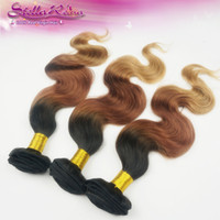 Wholesale 4 Three Tone Ombre Hair Brazilian Body Wave Hair Color Combine With b Human Hair Weave Extensions