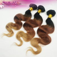 Wholesale Beautiful Brazilian Ombre Hair Tones Combine With Color b Virgin Human Hair Body Wave Weaving quot quot