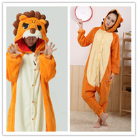 Unisex Animal Halloween Orange Lion Kigurumi Pajams Anime Cosplay Costume Unisex Adult Onesie Dresses