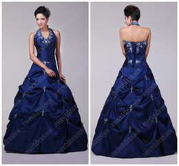 Wholesale Elegant Gorgeous Affordable Embroidery Ruched Royal Blue Halter Prom Dress Quinceanera Dresses JA550