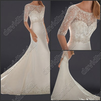 Wholesale Sexy Alencon Lace Wedding Dress - 2014 Free Shipping Lace Applique Crystle Beaded Mermaid Sexy Wedding Dresses Long Bridal Gowns With Sleeve Chapel Alencon Lace 20131010