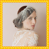 One-Layer bird cage mini - 2015 New Fashion Beautiful Small White Pearl Bird Cage Mini Tulle Veils Online