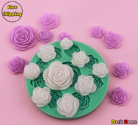 Wholesale roses of differdent sizes chocolate silicone cake decorating fondant mold tool