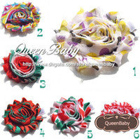 Barrettes Blending Floral Trial Order Christmas Chevron flower - Girls Christmas Hair clip baby christmas 8pcs lot Mix color QueenBaby