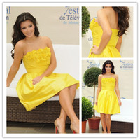 A-Line Modern Ruffle New Kim Kardashian Fashion Strapless Yellow Mini A Line Party Dresses Cocktail Dresses Party Gowns Taffeta Short Dresses with Ruffles 1024