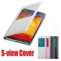 For Samsung aa window - AA quality Offical NFC Sleep wake Cover PU Flip Leather case Open window Back battery Cover For Samsung Galaxy Note3 Note N9000
