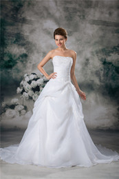 Free Shipping New Ball Gown Sleeveless Strapless Chapel Train White Ivory Organza Wedding Dresses Bridal Gows