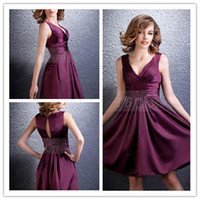 Ruched Sleeveless V-Neck Concise Ruched A-line V-Neck Knee Length Grape Elastics Woven Satin Short Bridesmaid Dress Short Evening Formal Prom Party Dresses