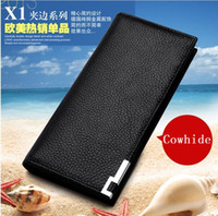 Wholesale Classic fashion Long men s leather wallet black Cowhide purse Luxury gift box