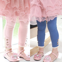 Wholesale Spring Fall Children Legs Pants Pure Cotton Button Lace Pure Colour Girls Leggings Kids Tights Pants Pink Blue Rice White QZ126