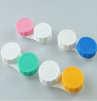 Wholesale 20Pcs candy color cosmetic contact lenses case box lens Companion storing box Left and Right Dual Box