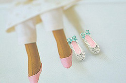 Wholesale Christmas Gift Charming Mini Ballet Dancing Shoes Stud Earrings Cosplay Party Jewelry Earrings Pink