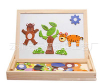 Wholesale EMS Family Time Children Education Wooden Magnetism Two Side Painting Kids Funny Colorful Animal Tree Star Learning Toys Drawing Board D0559