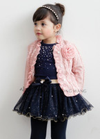 Wholesale Korean Brand Children Clothing Year Baby Fall Set Flower Lace Cardigan Tshirt Tutu Skirt Small Girls Suit QZ127