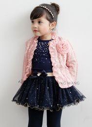 Wholesale Korean Brand Children Clothing Year Baby Fall Set Flower Lace Cardigan Tshirt Tutu Skirt Small Girls Suit QZ127