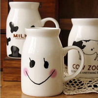 Wholesale Fashion White Ceramic Milk Pot Breakfast Drinking Mug Eco Friendly Kitchenware SH147