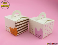 Wholesale single paper cupcake bear and rabbit design muffin cake packing box without insert