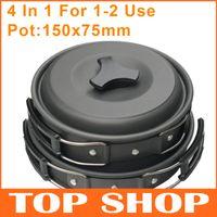 al por mayor aluminum cooker-Camping juego de Ollas de Pan Pot Cucharas Bowles Para 1-2 de Aluminio antiadherente de cocina 500g de Senderismo & Camping Campamento de Cocina