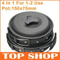 al por mayor aluminum cooker-Juego de utensilios de cocina para el campamento Cucharas de pan de pote Bowles para 1-2 Aluminio Antiadherente una cocina de campamento Camping HW0235 cocina