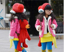Wholesale Winter Children Outwear Korean Thicken Fleece Keep Warm Girls Down Coat Kids Down Jacket Black Rose Red Colour QZ130