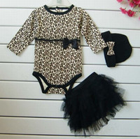 Wholesale Hot Baby girls sets long sleeved romoers tutu skirt dress headband hat Autumn girls leopard jumpsuits kids clothing sets