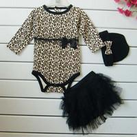 leopard headband - Hot Baby girls sets long sleeved romoers tutu skirt dress headband hat Autumn girls leopard jumpsuits kids clothing sets