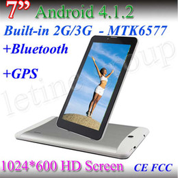 Mtk6577 tablet pc en venta-7Inch barato MTK 6577Tablet PC de doble núcleo Cortex A9 de 3G + GPS + Blutooth HD 1024 * 600 de la pantalla capacitiva de la cámara 512MB 4GB Dual tablet PC libre de DHL