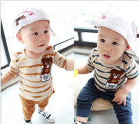 Wholesale High Quality Spring Fall Baby Kids Clothing Set Korean Cartoon Bear Stripe Pure Cotton Tshirt Pants Boys Girls Suit M QZ131