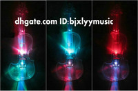 Wholesale NEW Crystal Transparent Electric Violin crystal electronic violin Dazzle colour LED lights with case