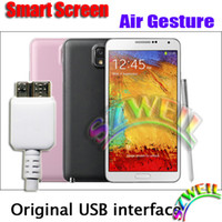5.7 Android 4.3 1G Note 3 iii N9000 Air Gesture MTK6589T Quad core 1.5GHZ Android 4.3 phone with Leather back cover 5.7 inch Screen Smartphone GA0601