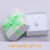Wholesale High Quality White Paper Gift Box With Green Bowknot Ribbon for Necklace Bracelet Jewelry Packaging for Christmas Gift BZ0007