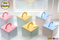 Wholesale single striped paper cupcake muffin cake box without insert colors