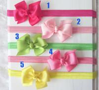 Hair Sticks Silk bow-knot 40pcs Baby Elastic Headbands Bowknot Headwear Girl Grosgrain Ribbon Bows Headbands Children's Hair Accessories Boutique Hair Ornaments