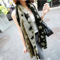 Wholesale 2013 new scarvesB543 autumn and winter chiffon scarves long scarves large five pointed star pattern contrast color oversized scarves shawls