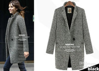 Women Cotton British Noble Fashion .Wholesale - 2014 New HOT Fashion Winter warmth Women's Houndstooth Polka Dot Striped Cashmere Slim Long outerwear wool coat Outwear