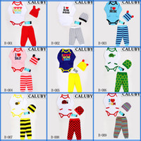 Unisex Summer Cotton Blends Fashion multi design cotton baby clothing suit cartoon shirt+pants+hat three-pieces sets infants children autumn clothes
