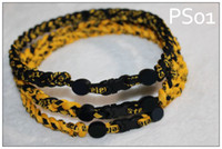 Wholesale 21 Twist Titanium American Football Necklace Steeler Sports Necklace Yellow and Black Handmade kernmantle rope Sports Accs for Men Women