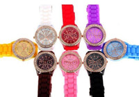 Wholesale Brand New bling diamond Rose gold Geneva Watch Rubber Candy Jelly Fashion Men Wamen Silicone Quartz Watches