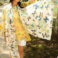 Wholesale 2013 new scarvesB635 new Korean women cashmere scarves chiffon scarves wild butterfly printed long shawl air conditioning
