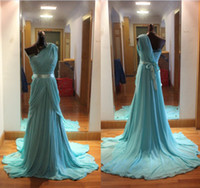Chiffon Sleeveless Sweep Train 2013 Hot Selling Beaded Elie Saab One Shoulder Ruffle Chiffon Chapel Train Evening Dresses Prom dresses (get 1 pair ear-rings for free)