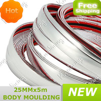 Cheap 25mmx16ft 5m Styling Grille Impact Silver PVC Chrome Molding Trim Strip Adhesive Exterior and Interior Car Bumper Decoration