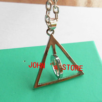 Alloy Pendant Necklaces  Freeshipping 20pcs a lot HARRY POTTER DEATHLY HALLOWS LOGO METAL NECKLACE BABC1