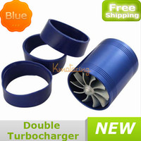 Cheap Double Turbocharger Engine Air Turbine Turbo Gas Intake Supercharger Blue Fan Kit Fuel Enhancer Saver free shipping wholesales