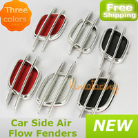 Wholesale 2pcs Car Side Air Flow Fender Decorative Sticker Scoop Intake Vent Hood Cover Universal Auto car black red silvery