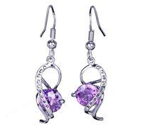 Cheap 1pair Fascinating Amethyst Beads 925 Sterling Silver Earrings Dangle Women's Eardrop Wire Earbob SF200*1